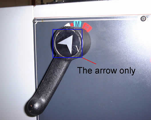 Aluminium Arrow In Speed Selector Handle On VL 425