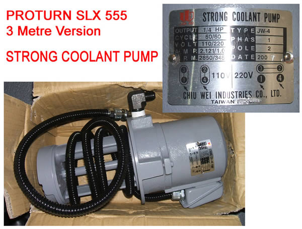 Coolant Pump For Pro 555 3 Mtr Lathe Single Phase, 110V 1/4H