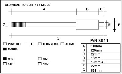 Drawbar, Manual ISO40, M16, 655mm long to suit XYZ 2000