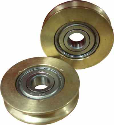 Guard Assy Brass Door Roller 44mm Dia Pro 420 (Pulley) Pair